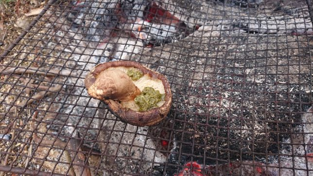 原木しいたけにバジルソース
