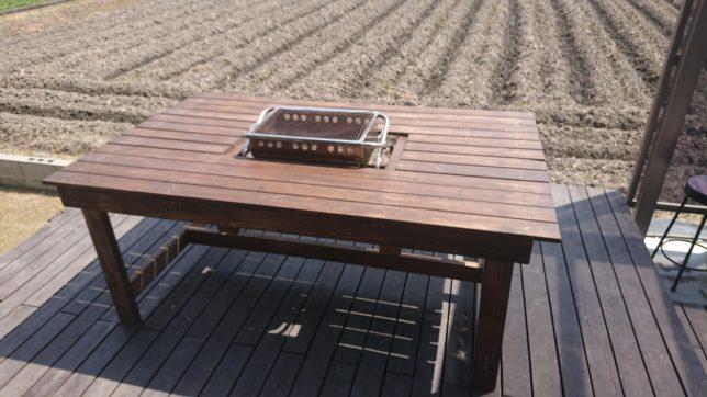 バーベキューグリル内蔵のバーベキューテーブル